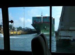 Driving in bus across the Panama Canal
